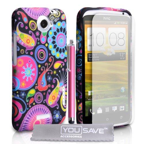 Yousave Accessories HT-DA01-Z916 - Carcasa de silicona para HTC One X (incluye protector de pantalla, gamuza y lápiz capacitivo), multicolor