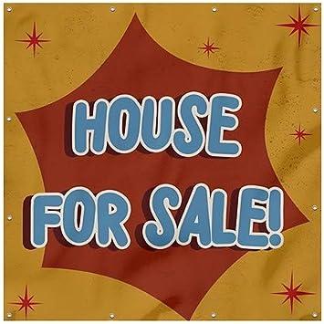 House for Sale CGSignLab Nostalgia Burst Heavy-Duty Outdoor Vinyl Banner 8x8