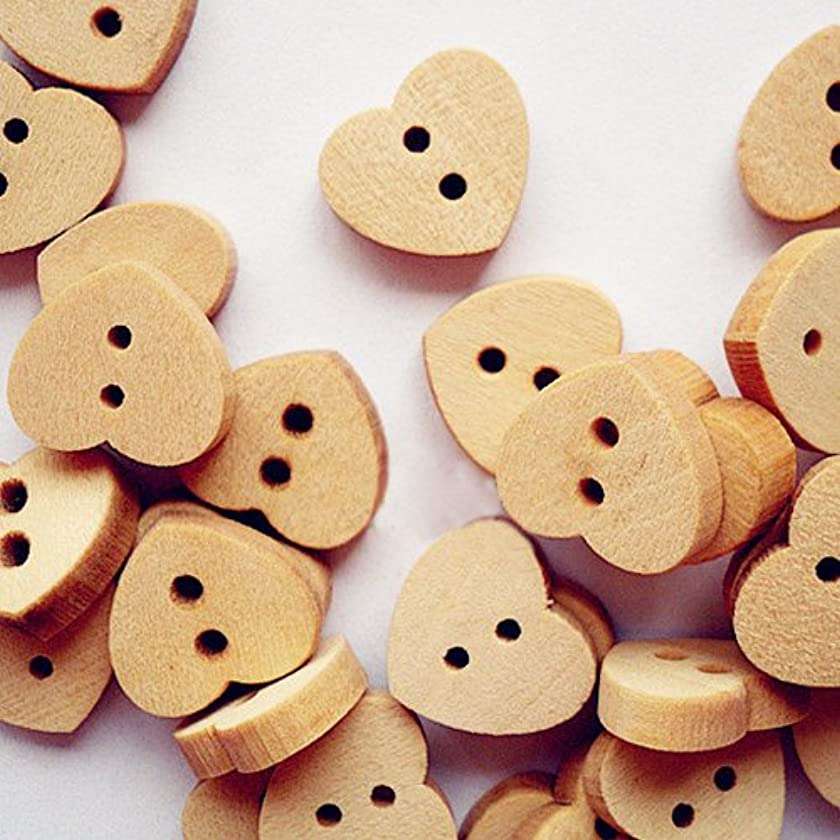PEPPERLONELY Brand 100PC Heart Shape Wooden Buttons 2 Hole Scrapbooking Sewing Buttons 15x13mm