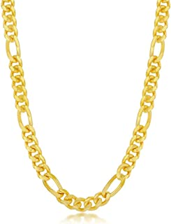 """Beaux Bijoux 6mm Solid Miami Cuban Figaro Link Chain 9"""", 20"""", 22"""", 24"""" Bracelet/Necklace 18K Gold Plated Sterling Silver J..."""