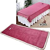 Massage Table Pad Professional Massage Table Cover Sheet Protection Cover for Massage Tables Spa Massage Bed Coverlet with Hole for Beauty Shop Coral Velvet(Red)