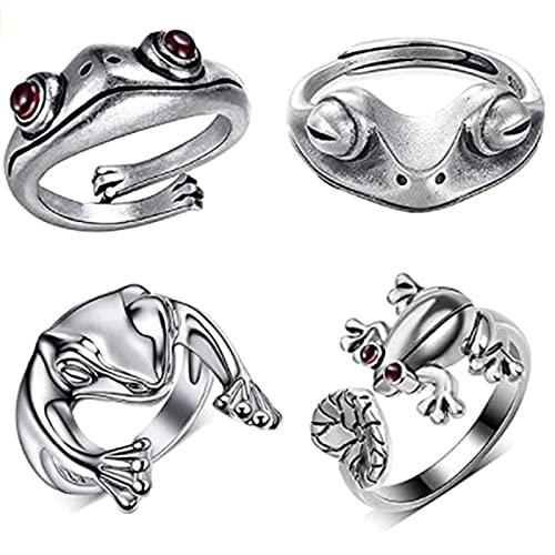 Juego de joyas, plata 925, juego de anillos, anillo de rana, juego de anillos de serpiente, anillo de animales, anillos bonitos, 6 piezas / 12 piezas / 16 piezas, regalos para mamá, mujer, esposa(A)