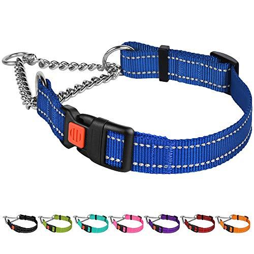 CollarDirect Reflective Dog Collar Martingale Collars Side Release Buckle Chain Training Adjustable Pet Choke Collars (M, Neck Size 14