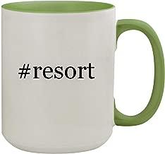 #resort - 15oz Hashtag Ceramic Inner & Handle Colored Coffee Mug, Light Green