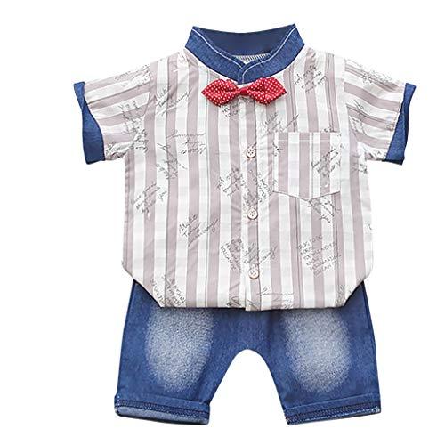 Baby Outfits Kolylong® Jungen Cartoon Tierdruck Kurzarm Hemd mit Fliege + Shorts Sommer Strand Taufe Outfit Fliege Krawatte Anzug Neugeborenes Kleidung Set Bekleidungssets 12 Monate- 4 Jahre