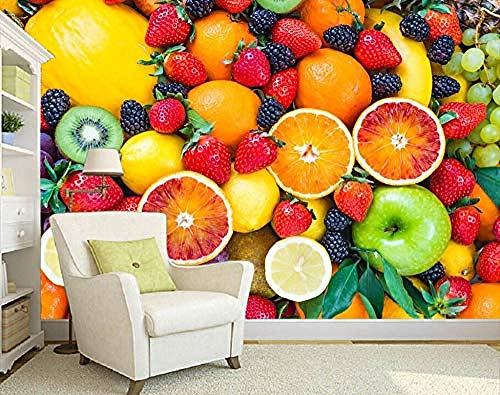 Fotomurales decorativos pared vinilos decorativos papel fotografico 3D Papel tapiz Decoración para el hogar Revestimiento de pared para la habitación Fruta colorida Fresa TV Telón de fondo Dormitorio