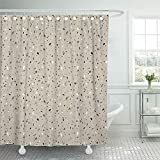 QIUJUAN Duschvorhang, White Marble Granite Stone Terrazzo Floor Abstract Beige Architecture Shower Curtains Sets with Hooks 72 x 72 Inches Waterproof Polyester Fabric