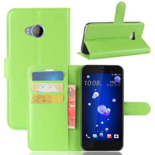 LMAZWUFULM Hülle für HTC U11 Life PU Leder Magnetverschluss Brieftasche Lederhülle Litschi Muster Standfunktion Ledertasche Flip Cover für HTC U11 Life Grün