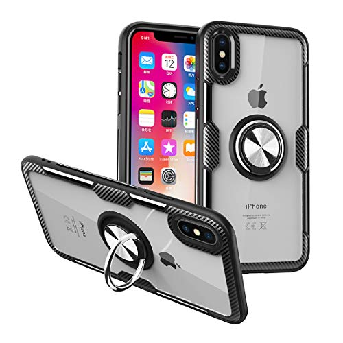 Nicwea Compatible iPhone XR Case with Clear Backing Slim Silicone Rubber Bumper Frame and 360° Rotating Ring Holder Stand Magnetic Compatible for Apple iPhone XR (2018) - Black
