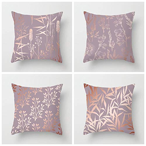 INFANDW Cotton Linen Pillow Case 4 Cushion Covers 45cm x 45cm, Cushion with Covers 18 x 18 inch Set of 4 for Livingroom Sofa Bedroom DRD389-6