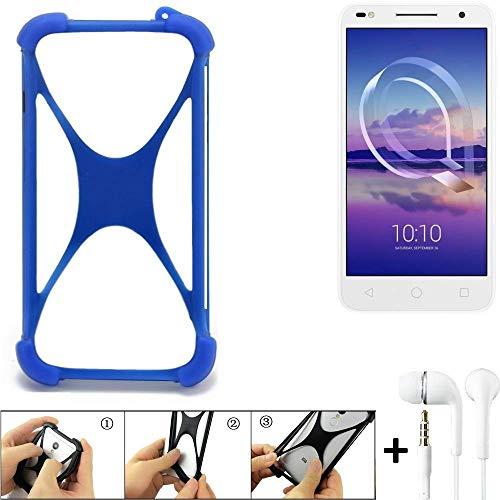 K-S-Trade® Bumper Für Alcatel U5 HD Dual SIM Schutzhülle Handyhülle Silikon Schutz Hülle Cover Case Silikoncase Silikonbumper TPU Softcase Smartphone, Blau (1x), Headphones