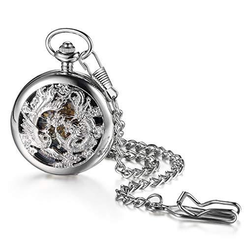 JewelryWe Retro Taschenuhr Herren Drache Phönix Handaufzug Mechanische Skelett Uhr mit Halskette Kette Römischen Ziffern Pocket Watch Silber