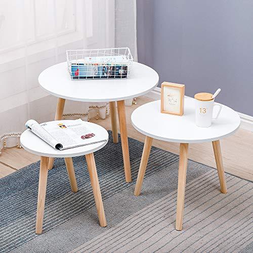 YJIIJY Juego de 3 Mesas de Centro Redonda, Mesas de Café Blanca para Sala de Estar y Dormitorio