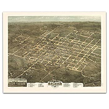 Raleigh North Carolina Vintage Map Circa 1872-11 x 14 Unframed Print - Great Housewarming Gift Raleigh Themed Office Decor Great Gift under $15