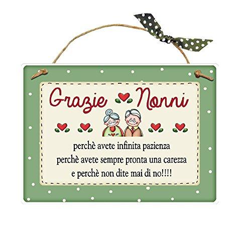 L'Angolo delle Idee Targa con spago Grazie Nonni Idea Regalo