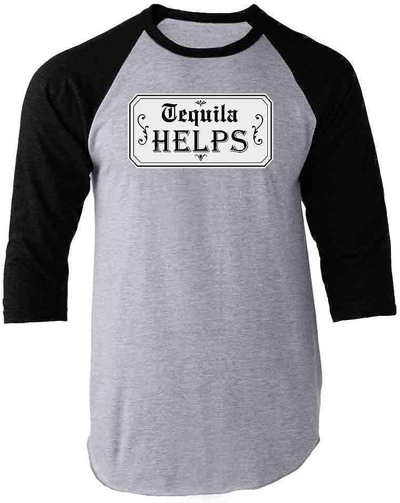 Tequila Helps Cinco de Mayo Funny Drinking Raglan Baseball Tee Shirt