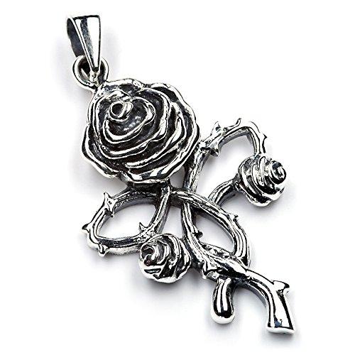 Rose Schmuck Anhänger Silber Ketten Anhänger Gothic Kettenanhänger feiner Rosen Schmuckanhänger Dornen Blätter