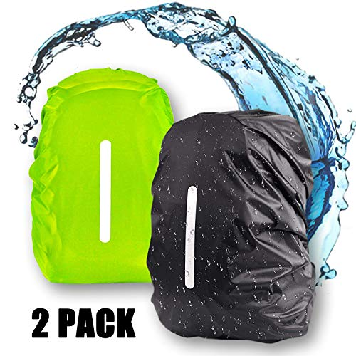 jeeri 2 Pack Ranzen Regenschutz wasserdichte Rucksacktaschen Regenschutz Regenhülle Rucksack Schulranzen Regenschutz für Outdoor Camping Wandern, Radfahren, Reisen