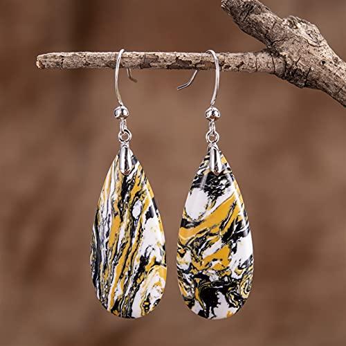 ACEACE Bunte schwimmende Steine Wassertropfenhaken-Ohrringe (Metal Color : Silver)