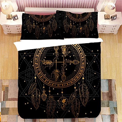 Gzsyb Bed Linen Duvet Set Cover And Pillow Case Microfibre With 1 Quilt Case 2 Pillowcases Case Black dream catcher 3D Digital Print Three - Piece Bed Linen Double 200x200 cm