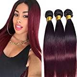 Ombre Weave Human Hair Ombre 1B99J Bundles Straight Wave Black To Burgundy Two Tone Human Hair 3 Bundles Dark Roots Brazilian Virgin Human Hair Extensions 100G/Pcs Mixed Length(20 22 24Inch)