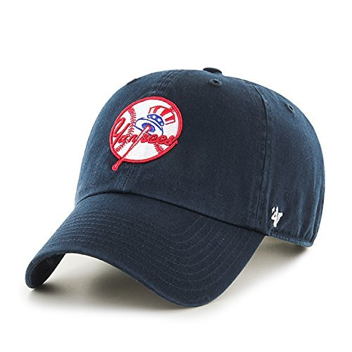 '47 New York Yankees Hat MLB Cooperstown Logo Authentic Brand Clean Up Adjustable Strapback Navy Baseball Cap Adult One Size Men & Women 100% Cotton