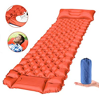 FEELLECampingSleepingPad,Ultralight,LightweightSleepingMatwithPillowforBackpacking and Camping InflatableHikingAirMattresswithBuilt-inPump