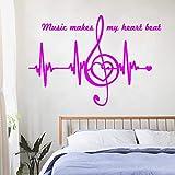 Heart Pulse Heartbeat Design Art Etiqueta de la pared removible Notas de la música Cita Decoración del hogar Belleza Dormitorio Calcomanías Decoración ~ 1 42 * 61cm