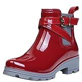 Botas de Agua Bota de Goma Mujer Impermeable lluvia Zapatos Tobillo Casual Calzado, Rojo 36