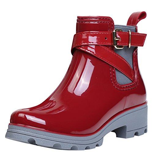 Damen Gummistiefel Regenstiefel Kurzschaft Stiefel Blockabsatz Chelsea Boots Rain Schuhe, Rot 41