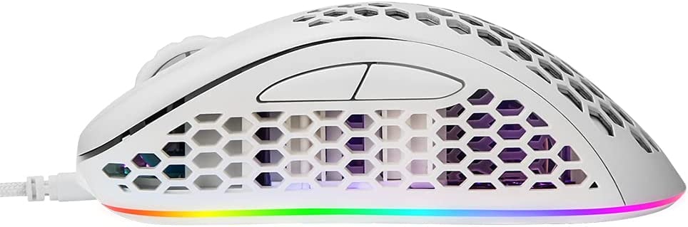 EQEOVGA D10 RGB Lightweight Gaming Mouse Honeycomb Mouse PMW3325 10000DPI Optical Sensor, with Lightweight Honeycomb Shell Ultralight Ultraweave Cable (65G)-White