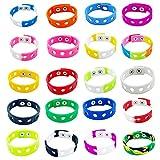 LotCow 20 Stück Silikon-Armbänder, verstellbare Gummi-Armbänder, bunt, niedliche Charm-Armbänder mit Löchern für Schuh-Charm, Jungen und Mädchen, Geburtstagsparty, Gastgeschenke.