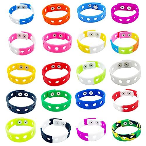 IYSHOUGONG 20 pulseras de silicona ajustables de goma coloridas pulseras con agujeros para nadar identificar regalos de cumpleaños