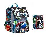 Scuola Schoolpack Seven SJ Gang - Mochila extensible Flip System Boy Royal Blue + Estuche de 3 pisos completo + 7 bolígrafos borrables con llavero Juego cubo