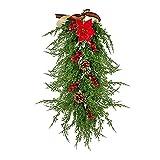 WIVAYE Swag de lágrima de Navidad, 65 cm de pino verde con flor artificial, bayas rojas y piña, decoración de puerta Swag verde para decoración de ventana de pared de Navidad