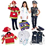Born Toys Premium 16pcs Costume Dress up set for kids ages 3-7 fireman,police costume, and doctor all sets are washable and have accessories