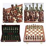 JooDaa Caja de Regalo de ajedrez de Alta Gama 30 15 6 cm Juego de Mesa Plegable de Bronce metálico ajedrez dedicado