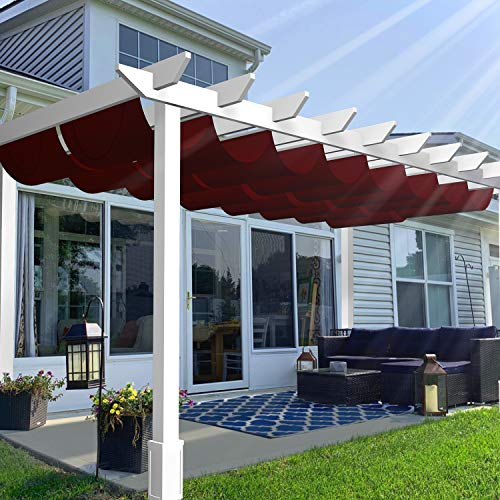 TANG Outdoor Retractable Pergola Replacement Shade Cover for Patio Deck Shade Canopy Awning...