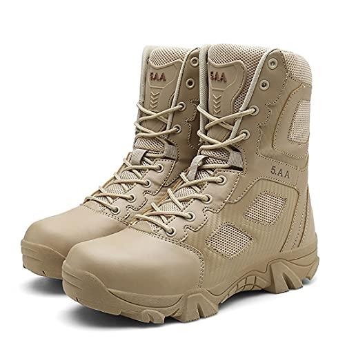 RatenKont Botas Militares Antideslizantes Resistentes al Desgaste para Hombres Botas Senderismo Impermeables para Escalada al Aire Libre para Hombres Sand 6.5