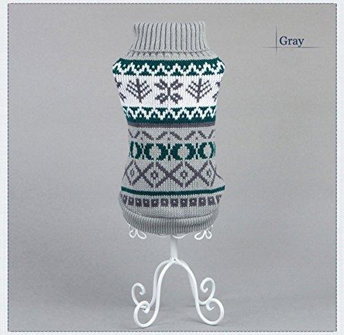 Tineer Haustier Hund Sweater Stricken Kleidung Schneeflocke Pet Cat Coat, Pullover Jacke Winter Schnee Muster Fliesen Weihnachten Kleidung (S, Grey)
