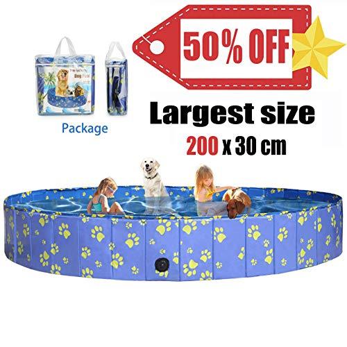 Pro Goleem Größten Faltbarer Hundepool für Hunde, Katzen Swimmingpool Schwimmbecken Planschbecken 200x30cm