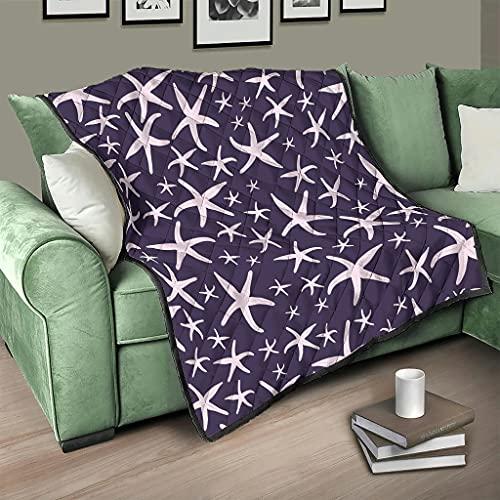 Flowerhome Colcha de estrella de mar lila para sofá, cama, cama, cama, color blanco, 230 x 260 cm