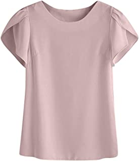 FORUU Women Summer O Neck Chiffon Solid Short Sleeve Blouse Tops Clothes T Shirt