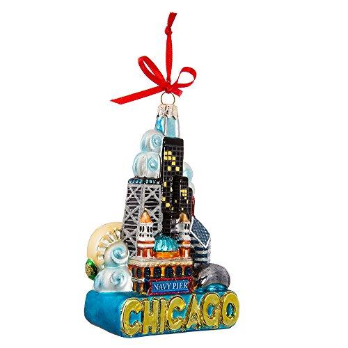 Kurt Adler Chicago Glass Ornament, 5-Inch