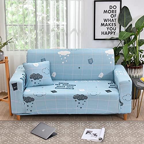 Funda De Sofá 1 Plazas Celosía Azul Fundas Sofa Elasticas Cubre Sofa Antideslizante Protector Funda para Sofá con Diseño Moderno Baiyun Universal Funda Cubre Sofas