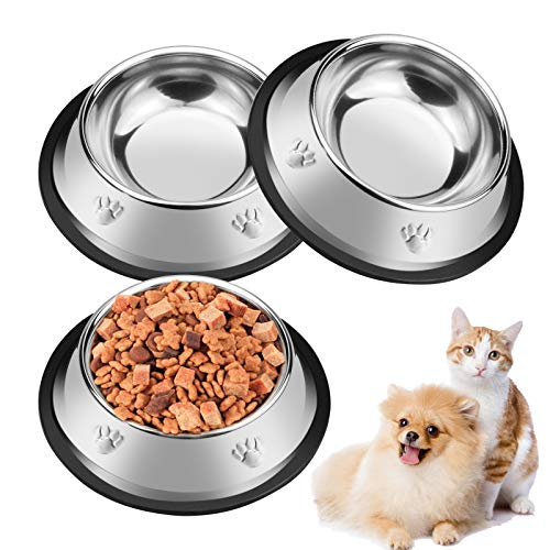 Zoiibuy 3 Piece Cat Bowl Stainless Steel Pet Bowls for Cats Anti-slip Non-spill Cat Food Water Bowl set Multifunctional Cat Feeding Bowls for Kitten Puppy Dog