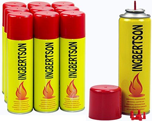 Ingbertson Feuerzeuggas 10x250ml Feuerzeugnachfüllgas Feuerzeug Gas Universal Butangas Propangas Nachfüllgas Feuerzeug