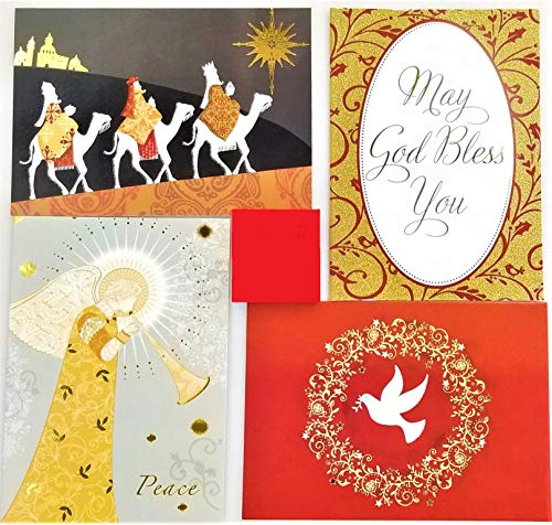 40 Religious Christmas Holiday Boxed Greeting Cards with Envelopes - Sentiment and KJV Scripture Inside - 4 Xmas Designs in Box Sets with Foil Stamp or Glitter - 5x7 Inch Cards (Religious 2)