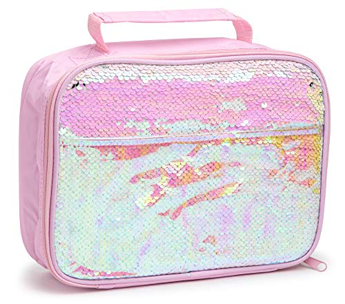 Core Home Insulated Lunch Bag with 2 Way Sparkly Sequin and Iridescent Pocket – White Pink Fun and Cute Kids Lunch Tote Bag for School/Outdoor/Travel/Picnic for kids, teens, girls, and boys