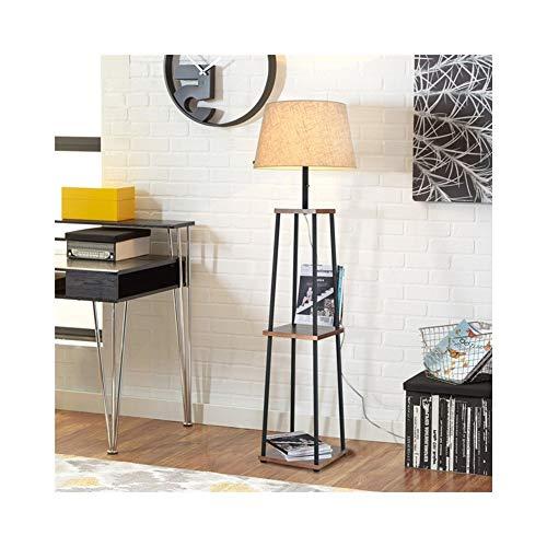 156cm Regal Stehlampe, Matte Black, White Linen Shade, Einbauschränke Regaleinheiten, Ein/Aus Zugkette